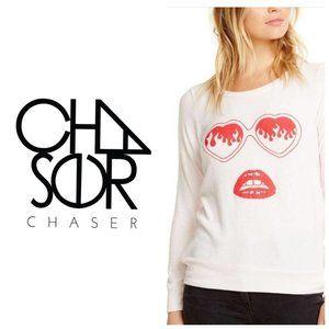 CHASER Heart Shades Soft Pink Sweatshirt